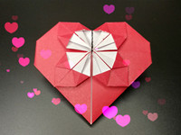 Origami heart with flower